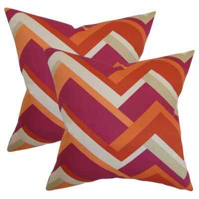 Bryn Geometric Cotton Throw Pillow Color: Mango