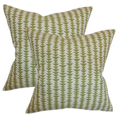 Lorelai Geometric Cotton Throw Pillow Color: Green