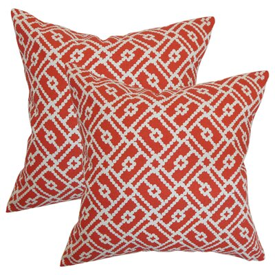 Kyara Geometric Cotton Throw Pillow Color: Berry