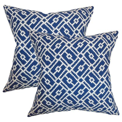 Kyara Geometric Cotton Throw Pillow Color: Blue