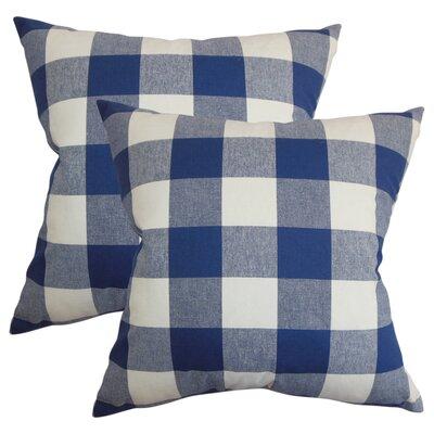 Pinegar Plaid Cotton Throw Pillow Color: Blue