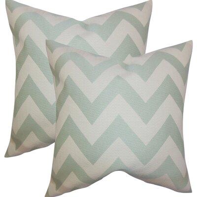 Strawn Chevron Cotton Throw Pillow Color: Jade