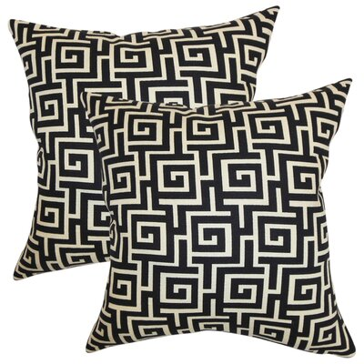 Xavia Geometric Cotton Throw Pillow Color: Black