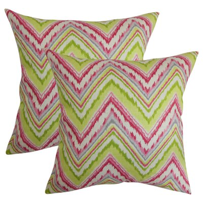 Struble Zigzag Cotton Throw Pillow Color: Pink/Green