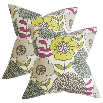 Zenobia Floral Cotton Throw Pillow Color: Yellow