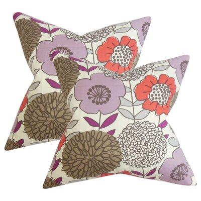 Zenobia Floral Cotton Throw Pillow Color: Purple