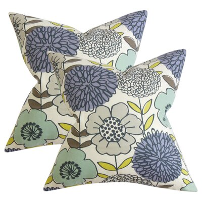 Zenobia Floral Cotton Throw Pillow Color: Blue