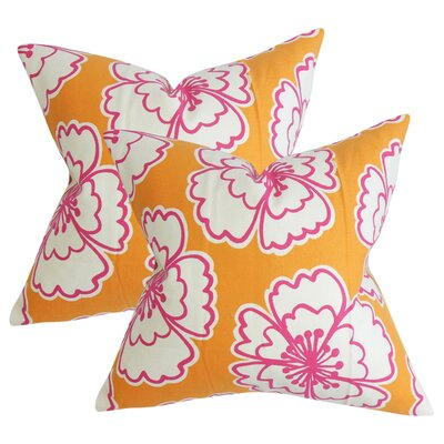 Arrant Floral Cotton Throw Pillow Color: Orange
