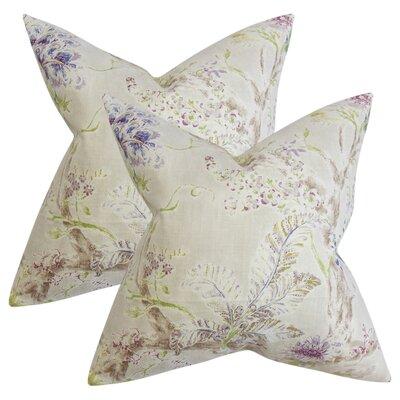 Letizia Floral Linen Throw Pillow Color: Tan