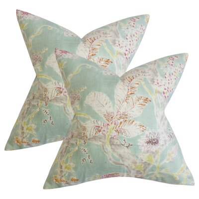 Letizia Floral Linen Throw Pillow Color: Seagreen