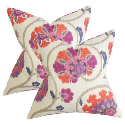 Willem Floral Cotton Throw Pillow Color: Purple
