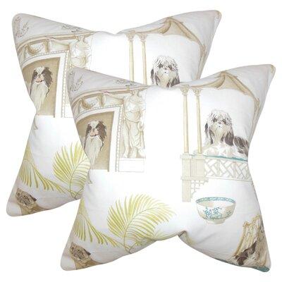 Aashish Animal Print Cotton Throw Pillow Color: Ivory