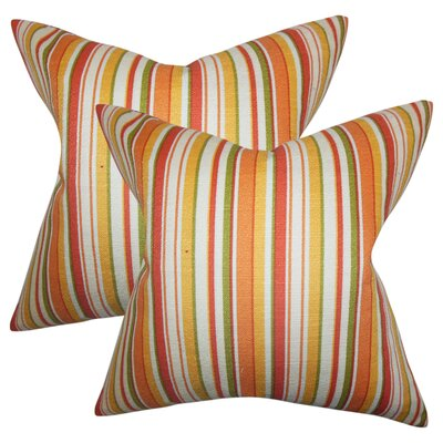Murley Stripes Cotton Throw Pillows Color: Orange