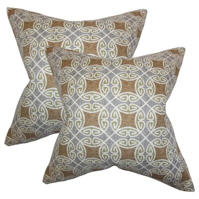 Karley Geometric Cotton Throw Pillow Color: Brown/Silver