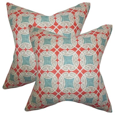 Karley Geometric Cotton Throw Pillow Color: Red/Blue