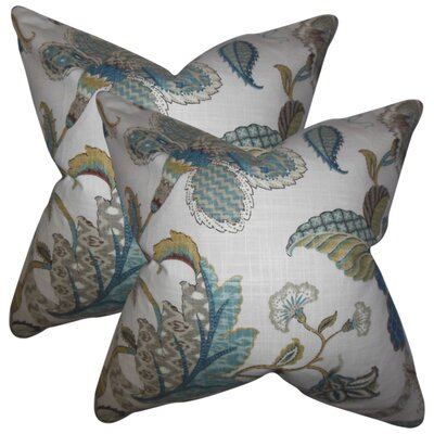 Edlin Floral Cotton Throw Pillow Color: Chambray