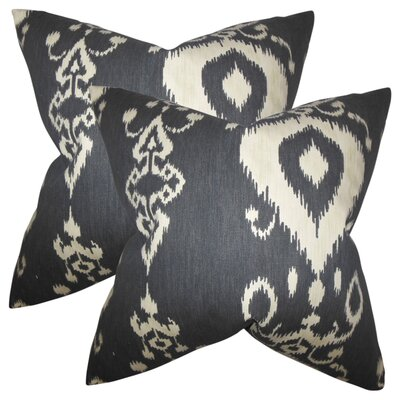 Minka Ikat Cotton Throw Pillow Color: Black