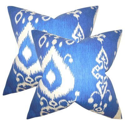 Minka Ikat Cotton Throw Pillow Color: Chambray