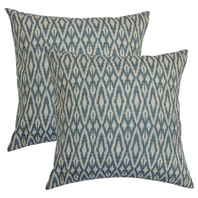 Arietta Ikat Cotton Throw Pillow Color: Denim