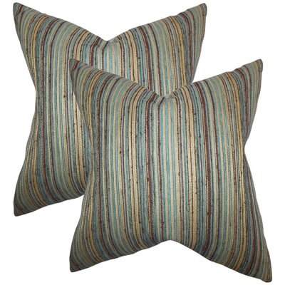 Aristocrat Stripes Throw Pillow Color: Brown/Blue