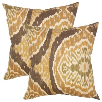 Ariyah Ikat Cotton Throw Pillow Color: Brown