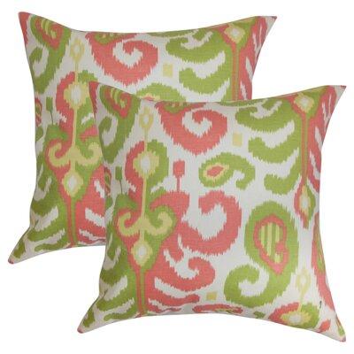 Arlie Ikat Cotton Throw Pillow Color: Pink/Green