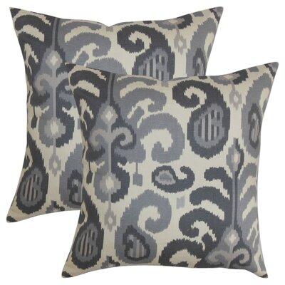 Arlie Ikat Cotton Throw Pillow Color: Steel