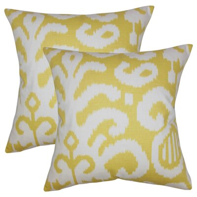 Hillery Ikat Cotton Throw Pillow Color: Cirtus