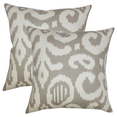 Hillery Ikat Cotton Throw Pillow Color: Fog