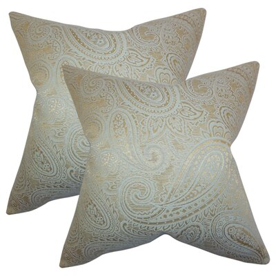 Digby Paisley Cotton Throw Pillow Color: Seaglass/Gold