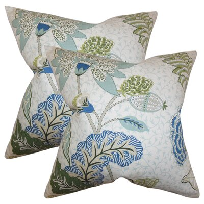 Tiara Floral Cotton Throw Pillow Color: Aqua