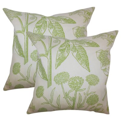 Hopedale Floral Cotton Throw Pillow Color: Green