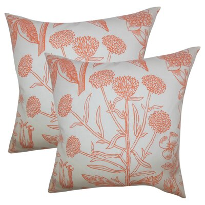 Hopedale Floral Cotton Throw Pillow Color: Orange