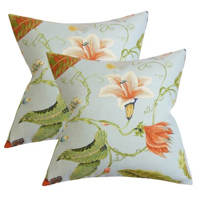 Anand Floral Cotton Throw Pillow Color: Light Blue/Orange