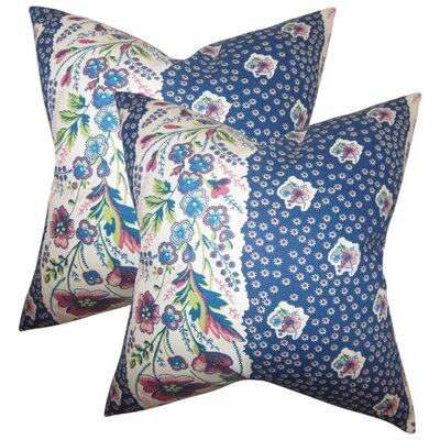 Gottfried Floral Cotton Throw Pillow Color: Sapphire