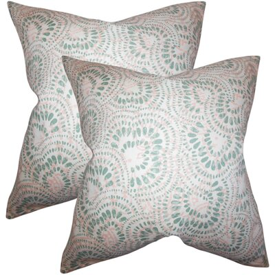 Winburn Floral Cotton Throw Pillow Color: Pink/Green