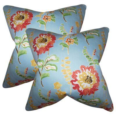 Hepatique Floral Cotton Throw Pillow Color: Light Blue