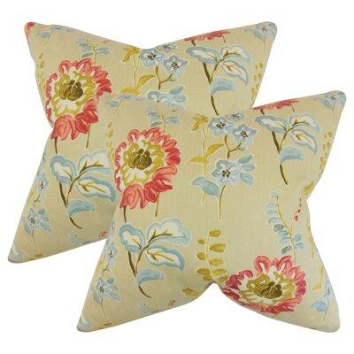 Hepatique Floral Cotton Throw Pillow Color: Tan