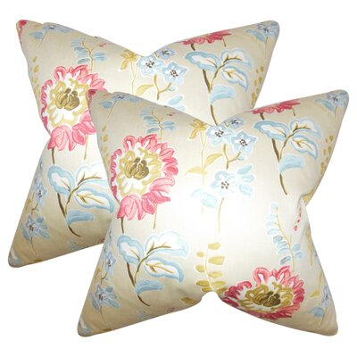 Hepatique Floral Cotton Throw Pillow Color: Creme