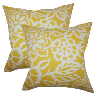 Jinn Floral Cotton Throw Pillow Color: Yellow