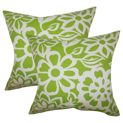 Jinn Floral Cotton Throw Pillow Color: Green