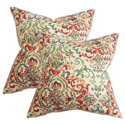 Annuziata Floral Cotton Throw Pillow Color: Red/Yellow