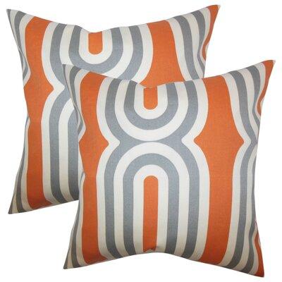 Wojtowicz Geometric Cotton Throw Pillow Color: Orange