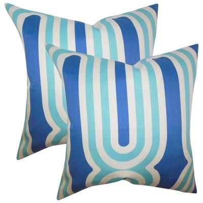 Wojtowicz Geometric Cotton Throw Pillow Color: Blue