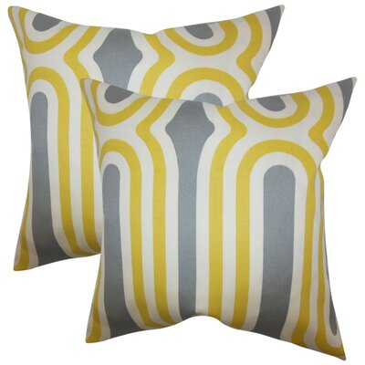 Wojtowicz Geometric Cotton Throw Pillow Color: Yellow