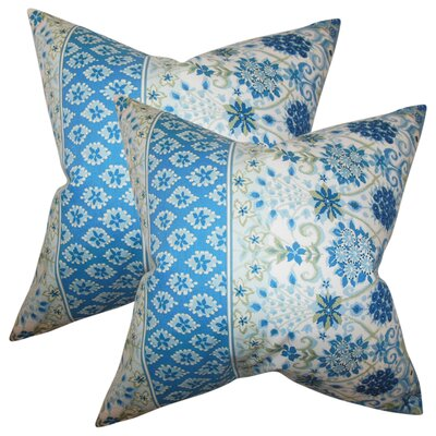 Polster Floral Cotton Throw Pillow Color: Lapis