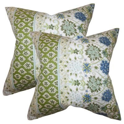Polster Floral Cotton Throw Pillow Color: Cactus