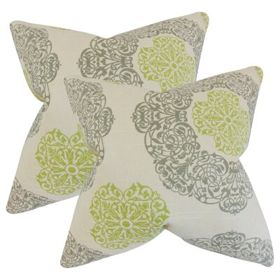 Roselyn Geometric Cotton Throw Pillow Color: Green