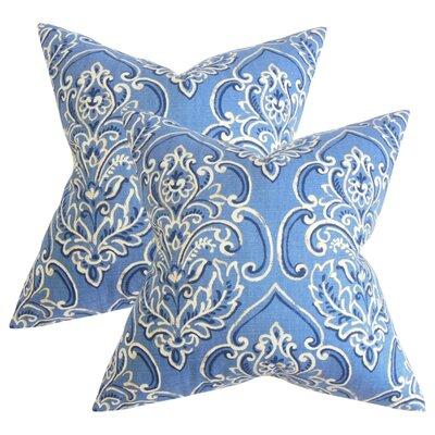 Wendi Floral Cotton Throw Pillow Color: Blue