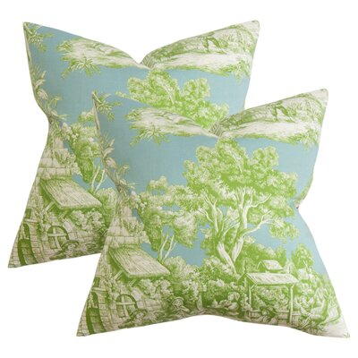 Nataliya Toile Cotton Throw Pillow Color: Green